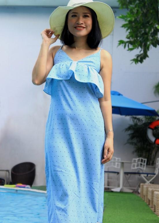 Đầm maxi hai dây bèo ngực chấm bi xanh nữ
