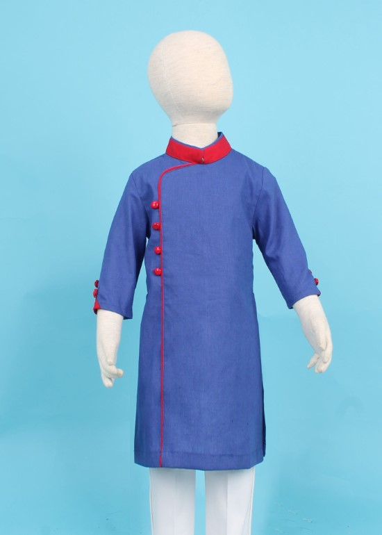 Áo dài linen xanh bích viền bé trai