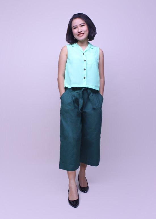 Áo cổ ve xanh ngọc nữ
