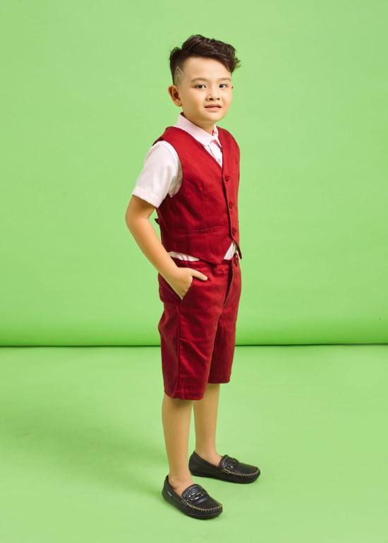Áo gile đỏ đô bé trai
