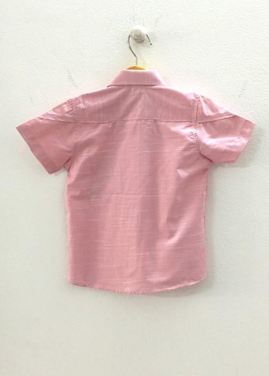 Áo sơmi bé trai viền TN caro hồng