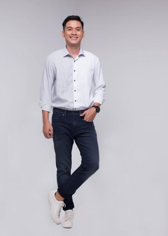 Áo sơmi nam tay dài viền caro trắng