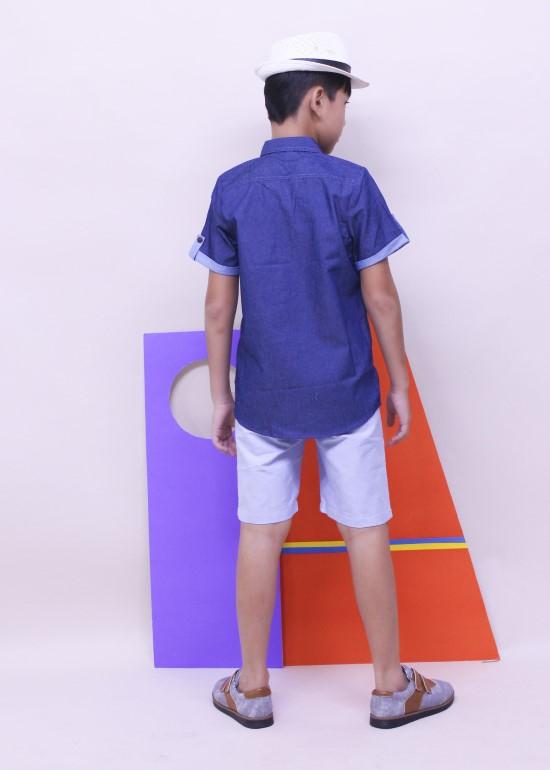 Quần short lưng thun rút dây xanh biển bé trai
