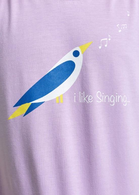 Áo thun bé tím chim hát