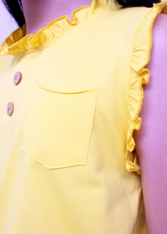 Áo thun bé gái cổ bèo vàng