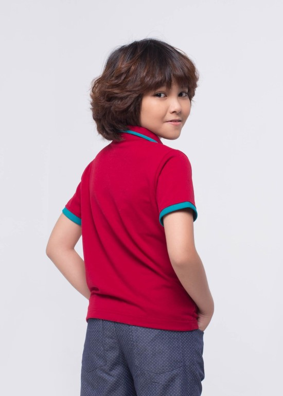 Áo CS đỏ phối xanh
