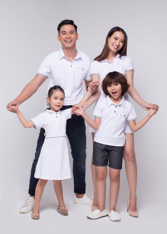 Combo đầm và áo CS trắng gia đình