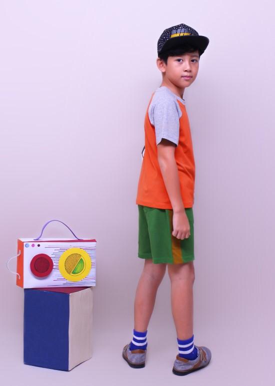 Áo thun bé trai ráp lăng cam