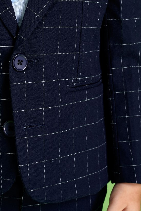 Áo vest bé trai caro xanh đen