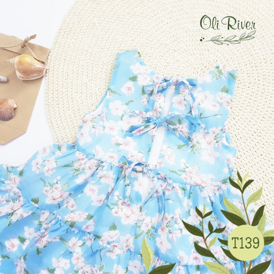 Đầm voan xanh hoa nhí oli river T139