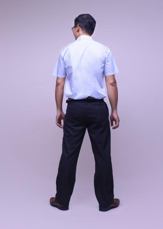 Áo sơ mi nam tay ngắn cotton xanh