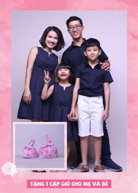 Combo đầm và áo sơ mi chấm bi gia đình