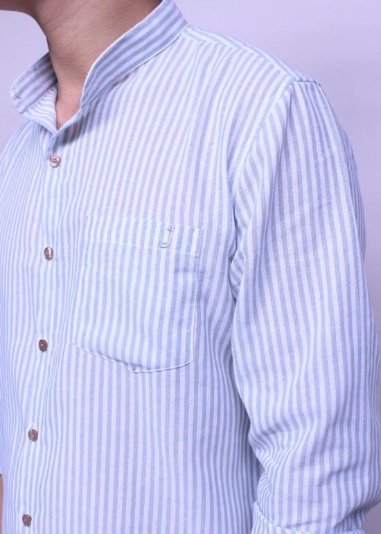 Áo sơmi nam tay dài sọc xanh ngọc