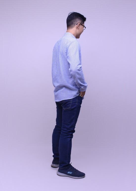 Áo sơmi nam tay dài sọc xanh biển