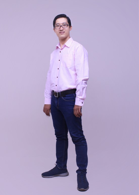 Áo sơ mi tay dài nam vải fo hồng