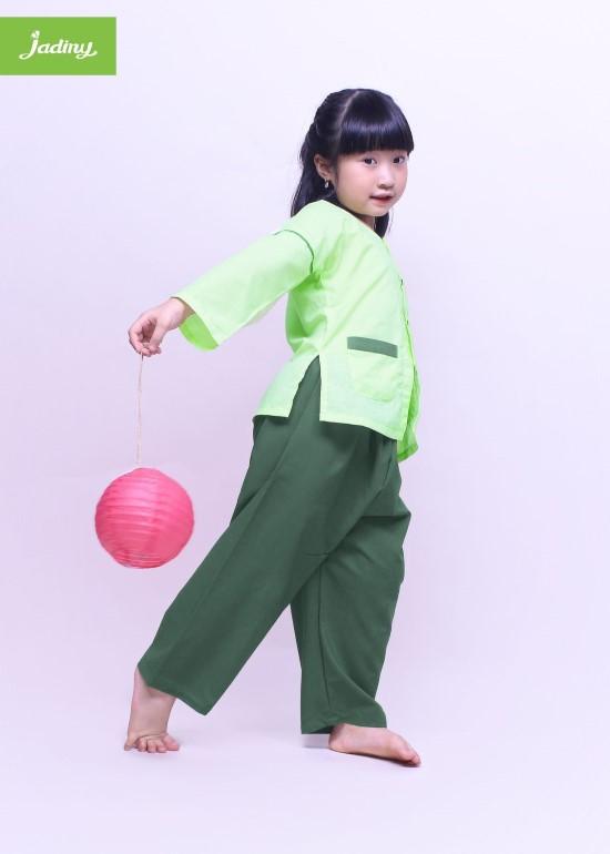 Bộ quần áo bà ba cho bé xanh lục