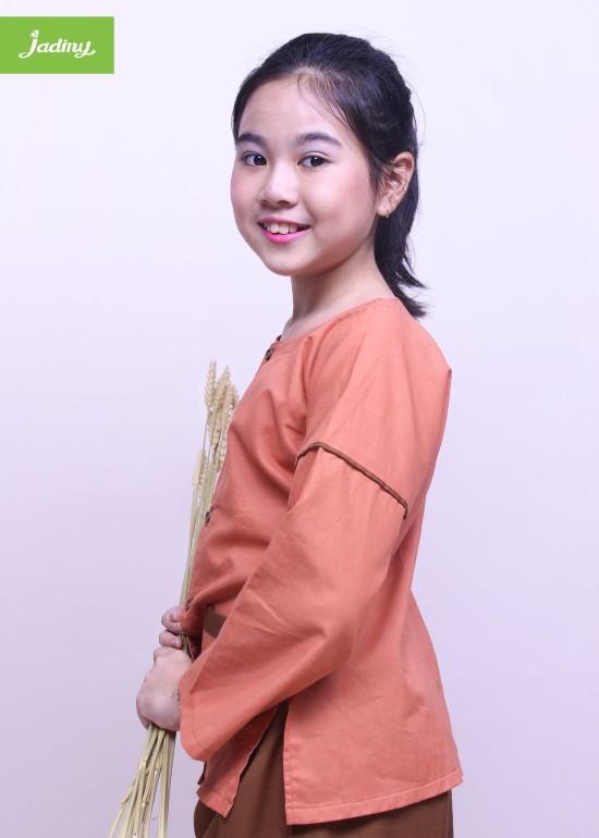 Bộ quần áo bà ba cho bé màu cam