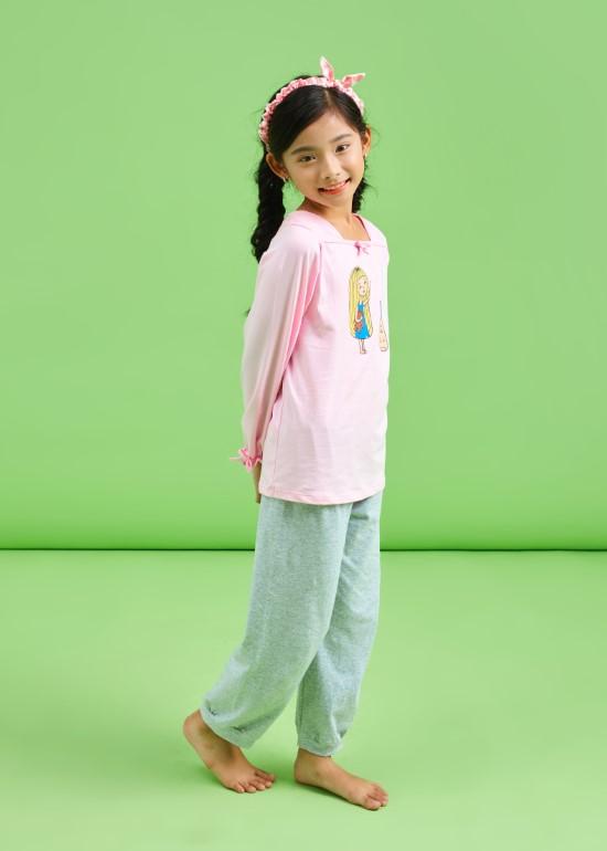 Đồ bộ bé gái TD áo hồng phấn quần xám