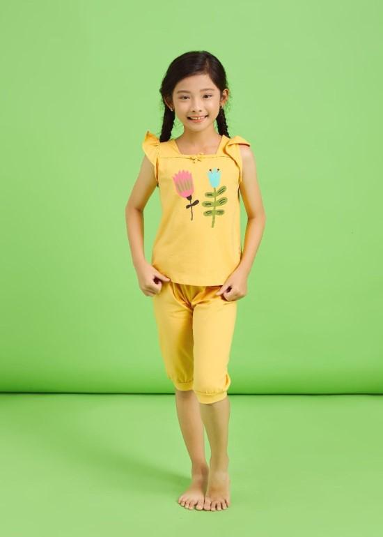 Đồ bộ bé gái TN vàng cổ vuông
