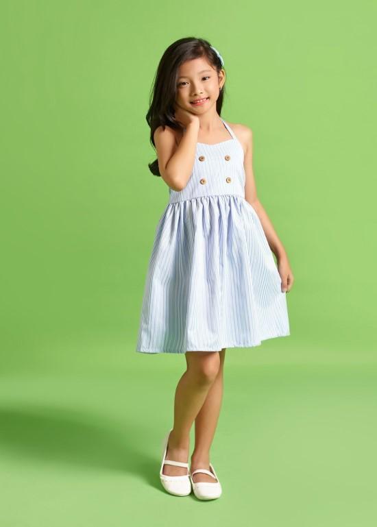Đầm yếm sọc xanh biển