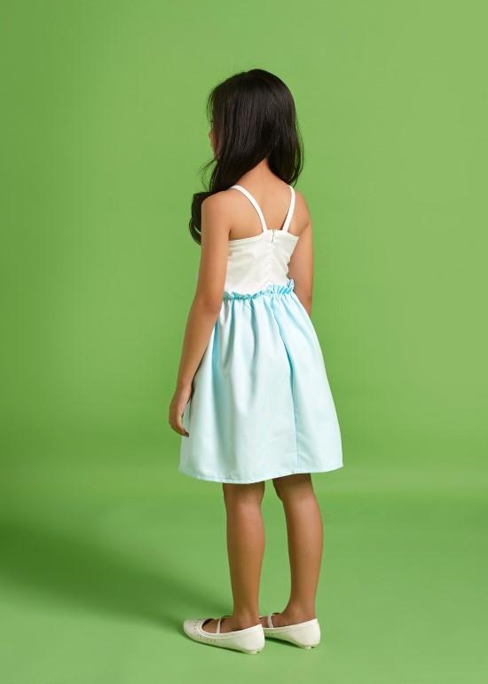 Đầm hai dây nơ xanh ngọc bé gái
