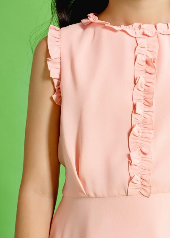 Đầm bèo cổ ngực hồng dâu