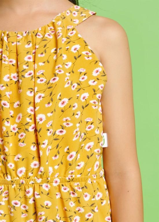 Đầm maxi cột nơ vàng cúc