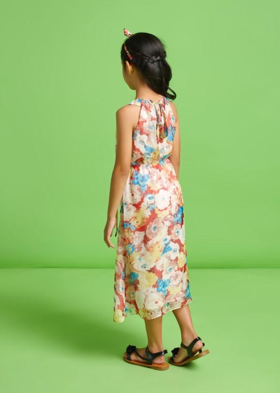 Đầm maxi cột nơ hồng vẽ
