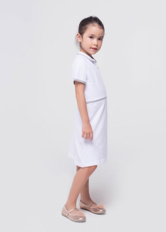 Đầm thun trắng viền xám bé gái