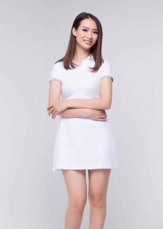 Đầm thun trắng viền xám nữ