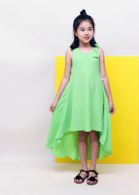 Đầm maxi mullet xanh bé gái