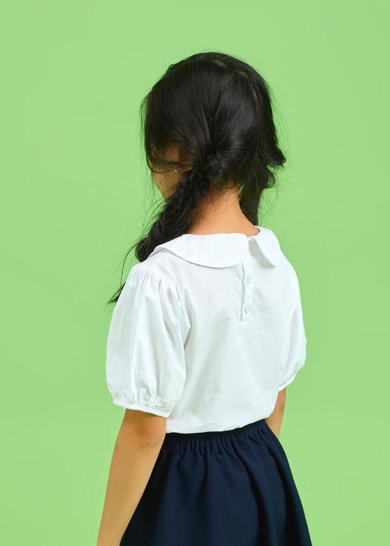 Áo SM đồng phục học sinh nữ tay viền