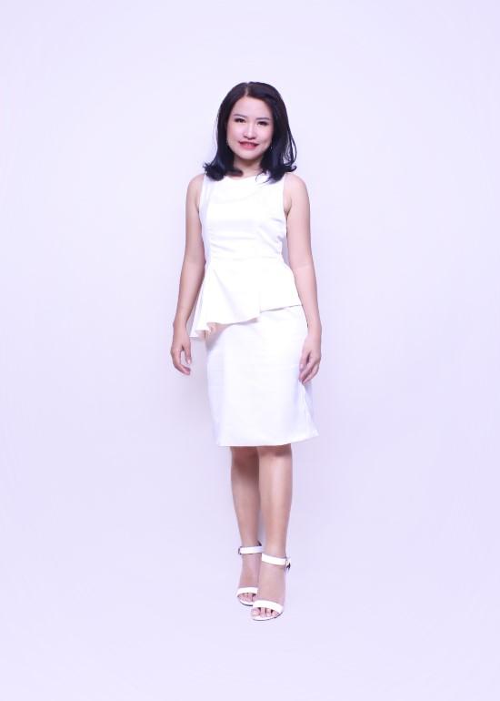 Đầm peplum trắng