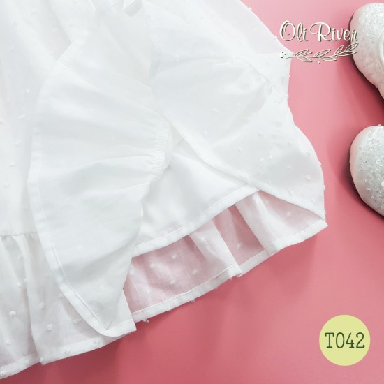 Đầm tiểu thư cực sang chảnh màu trắng oli river T042