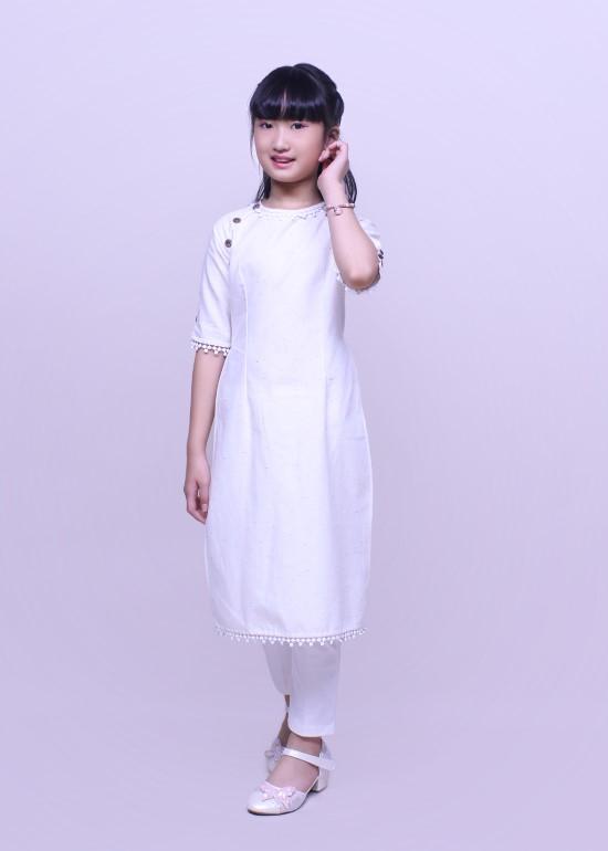 Áo dài bé gái linen phối trắng