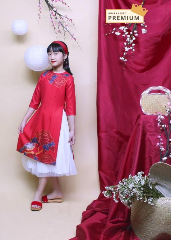 Áo dài phước lộc đỏ bé gái