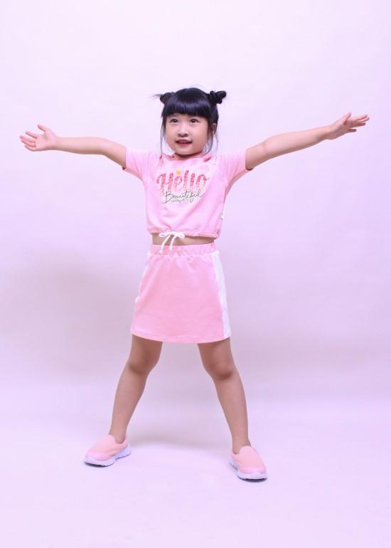 Bộ quần áo bé gái set teen hồng