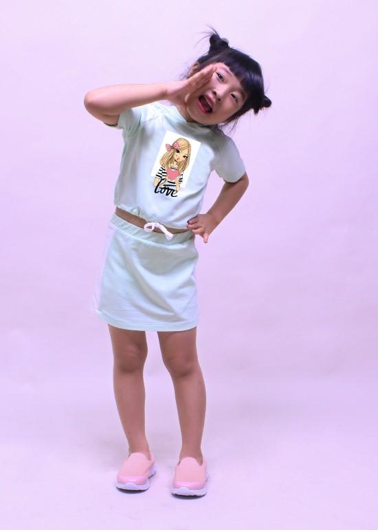 Bộ quần áo bé gái set teen xanh