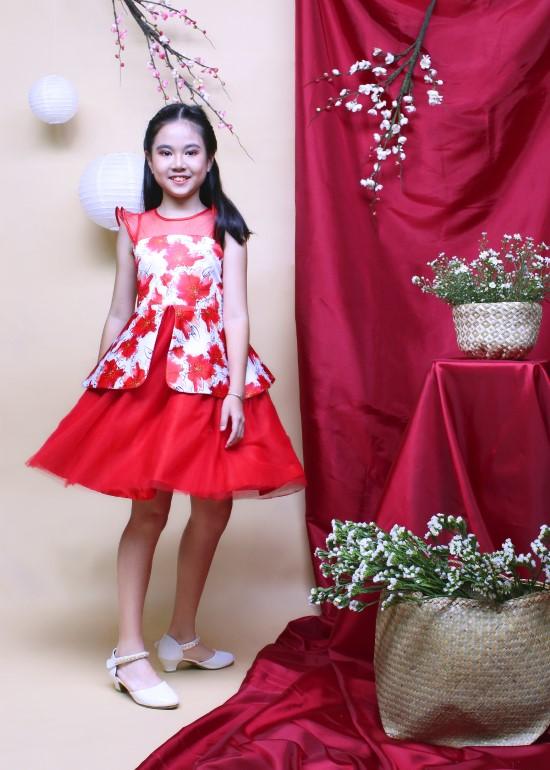 Đầm tiệc bé gái peplum in hoa đỏ