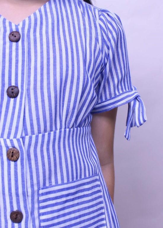 Đầm bé gái tay cột nơ xanh lam
