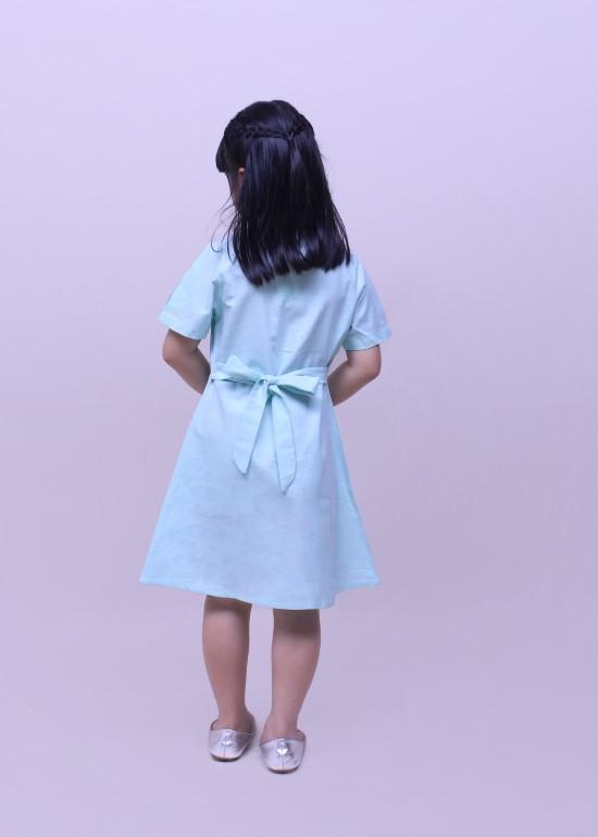 Đầm bé gái CLT xanh lá cây