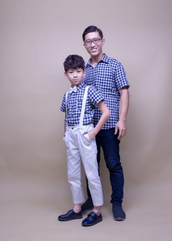 Áo đôi cho bố và bé trai sơ mi caro xanh