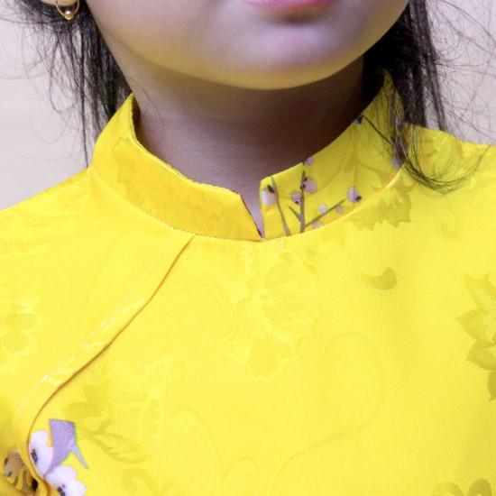 Bộ áo dài bé vui xuân váy xanh