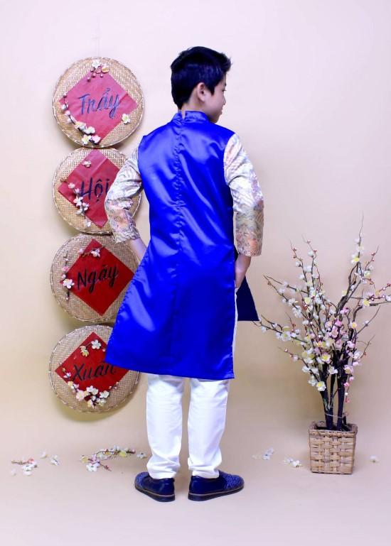Áo dài phối rồng trắng may mắn xanh