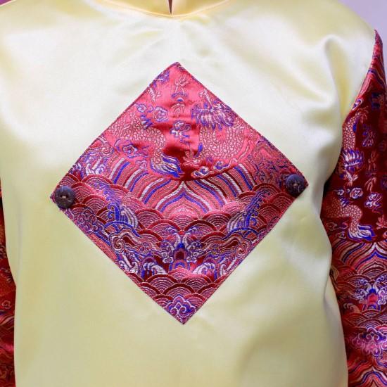 Áo dài phối rồng đỏ may mắn vàng