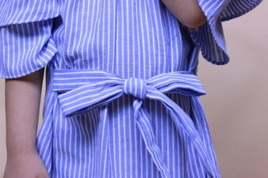 Đầm hai dây rớt vai sọc xanh
