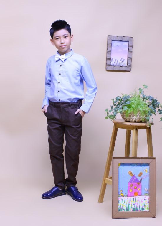 Áo sơmi tay dài bé trai cotton xanh da trời