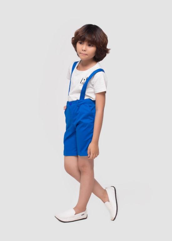 Quần yếm ngắn kaki xanh bích bé trai