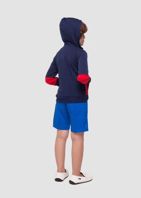 Áo khoác thun có nón xanh phối đỏ