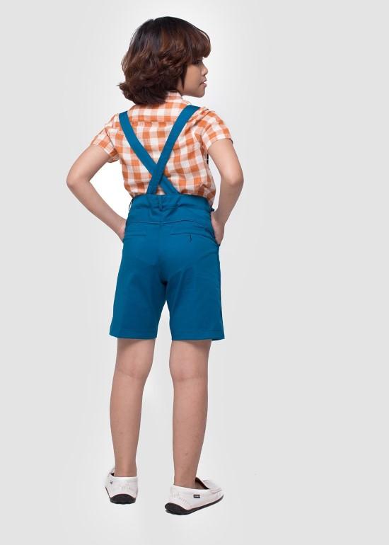 Quần yếm ngắn kaki xanh cổ vịt bé trai